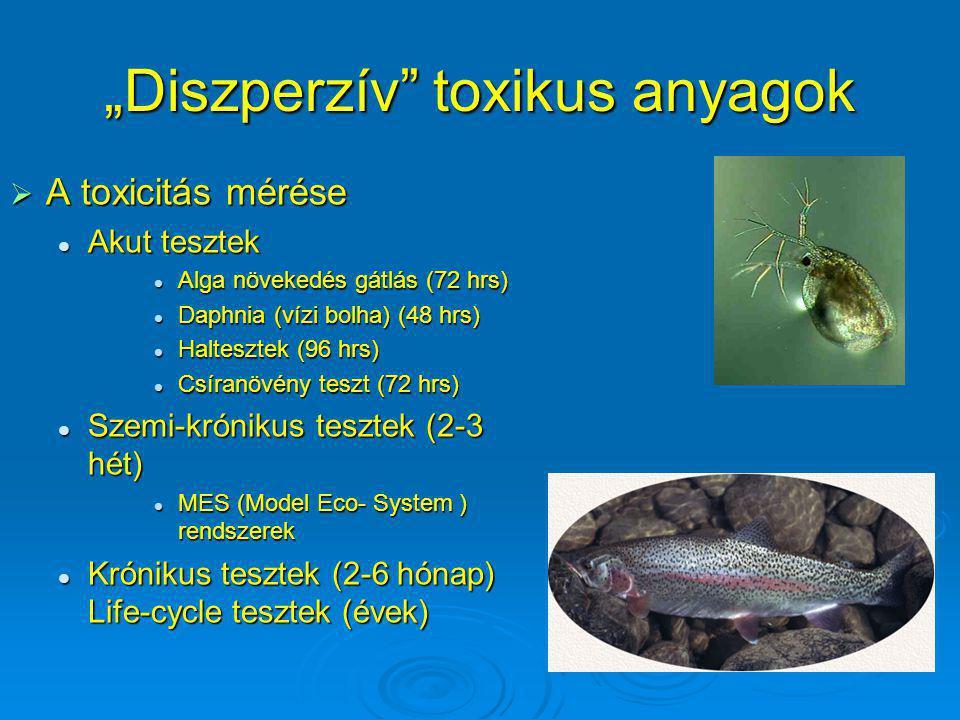 """""""Diszperzív"""" toxikus anyagok  A toxicitás mérése Akut tesztek Akut tesztek Alga növekedés gátlás (72 hrs) Alga növekedés gátlás (72 hrs) Daphnia (víz"""