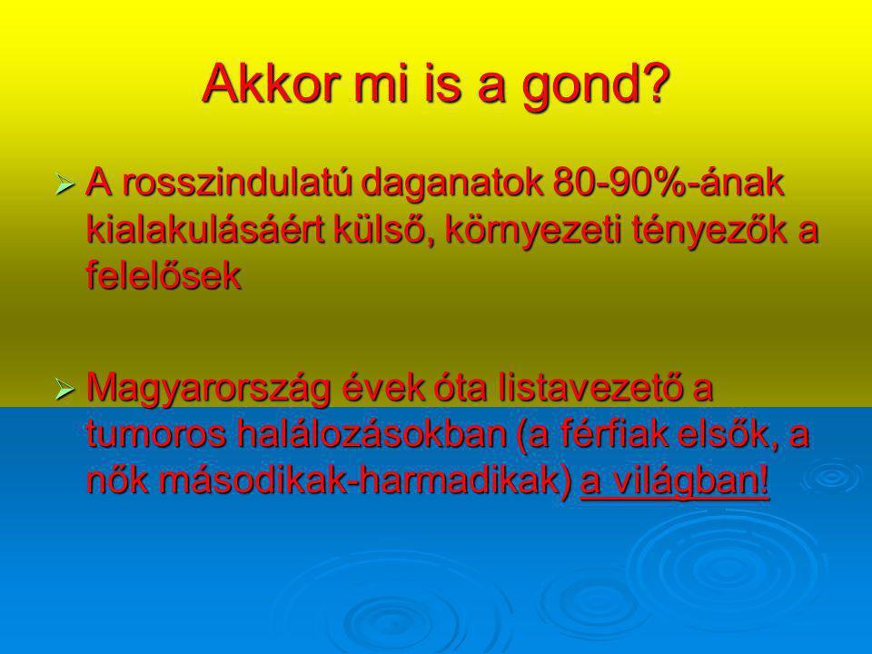 Akkor mi is a gond?  A rosszindulatú daganatok 80-90%-ának kialakulásáért külső, környezeti tényezők a felelősek  Magyarország évek óta listavezető