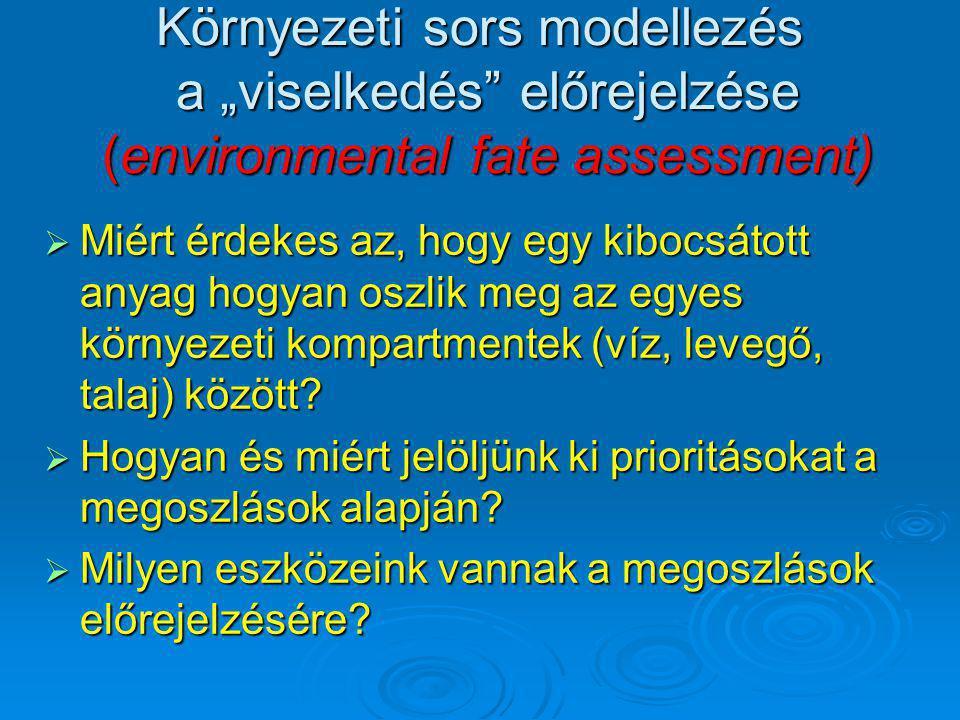 """Környezeti sors modellezés a """"viselkedés"""" előrejelzése (environmental fate assessment)  Miért érdekes az, hogy egy kibocsátott anyag hogyan oszlik me"""