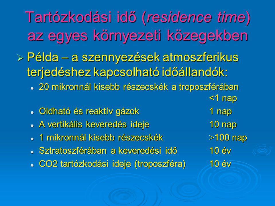 Tartózkodási idő (residence time) az egyes környezeti közegekben  Példa – a szennyezések atmoszferikus terjedéshez kapcsolható időállandók: 20 mikron