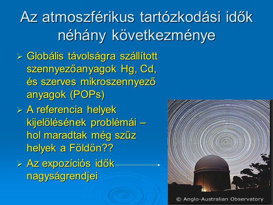 Az atmoszférikus tartózkodási idők néhány következménye  Globális távolságra szállított szennyezőanyagok Hg, Cd, és szerves mikroszennyező anyagok (P