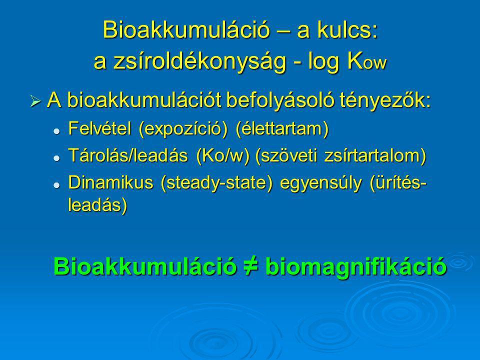 Bioakkumuláció – a kulcs: a zsíroldékonyság - log K ow  A bioakkumulációt befolyásoló tényezők: Felvétel (expozíció) (élettartam) Felvétel (expozíció