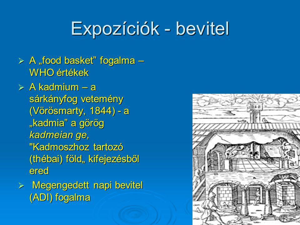"""Expozíciók - bevitel  A """"food basket"""" fogalma – WHO értékek  A kadmium – a sárkányfog vetemény (Vörösmarty, 1844) - a """"kadmia"""" a görög kadmeian ge,"""