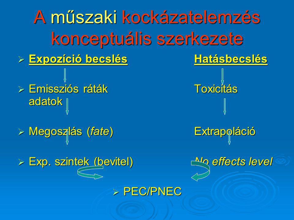 A műszaki kockázatelemzés konceptuális szerkezete  Expozíció becslésHatásbecslés  Emissziós rátákToxicitás adatok  Megoszlás (fate)Extrapoláció  E