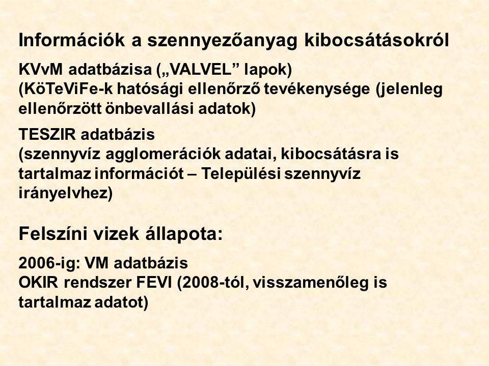 """Információk a szennyezőanyag kibocsátásokról KVvM adatbázisa (""""VALVEL"""" lapok) (KöTeViFe-k hatósági ellenőrző tevékenysége (jelenleg ellenőrzött önbeva"""