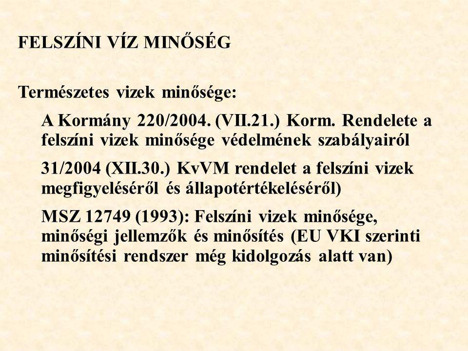 FELSZÍNI VÍZ MINŐSÉG Természetes vizek minősége: A Kormány 220/2004. (VII.21.) Korm. Rendelete a felszíni vizek minősége védelmének szabályairól 31/20