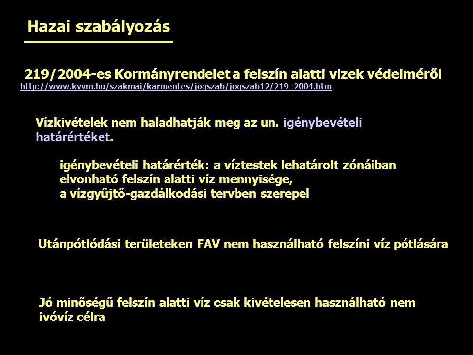 219/2004-es Kormányrendelet a felszín alatti vizek védelméről http://www.kvvm.hu/szakmai/karmentes/jogszab/jogszab12/219_2004.htm Vízkivételek nem hal