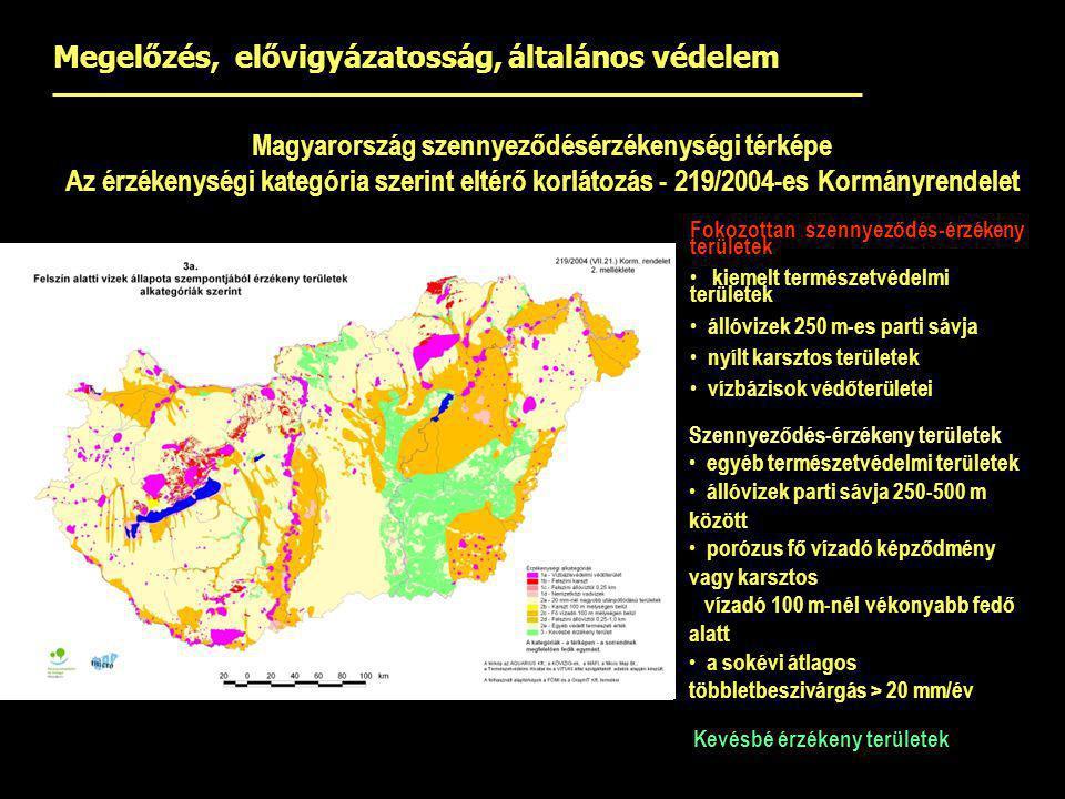 Magyarország szennyeződésérzékenységi térképe Az érzékenységi kategória szerint eltérő korlátozás - 219/2004-es Kormányrendelet Fokozottan szennyeződé