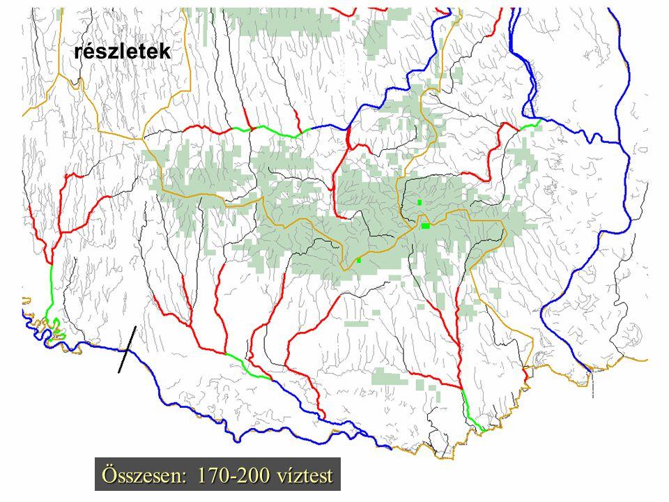 domborzat (m B.f.):  < 200 200 – 500 > 500 vízgyűjtőterület (km 2 ):  100 – 500  500 – 1000  > 1000 Kötelező tipológiai elemek: az egyes részvízgy