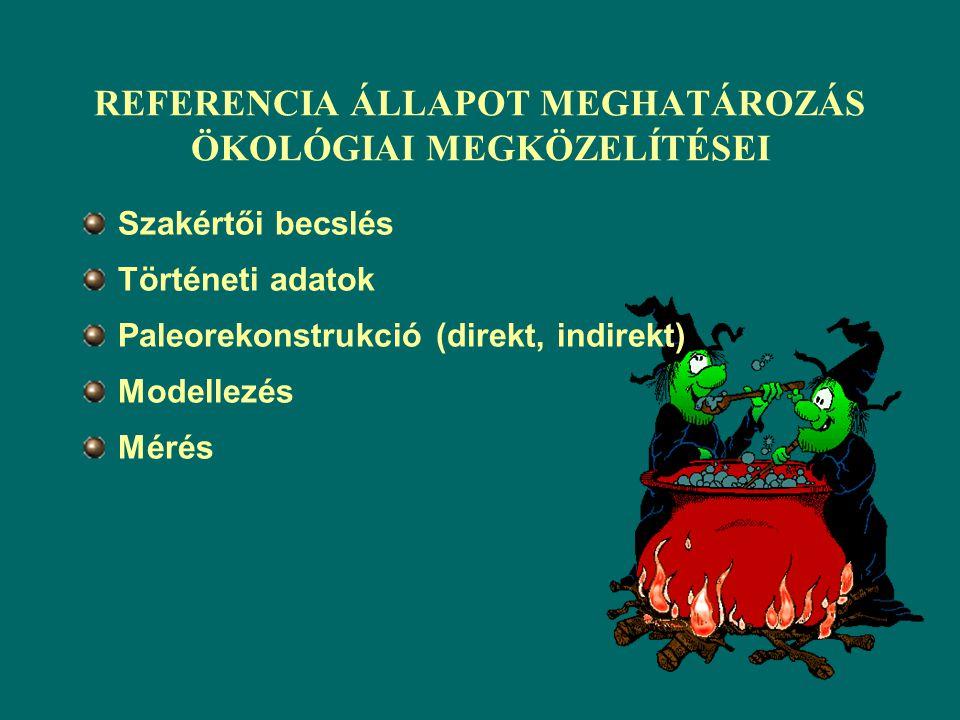 REFERENCIA ÁLLAPOT MEGHATÁROZÁS FOLYAMATÁBRÁJA Terhelés kritériumokÖkológiai kritériumok Előzetes ökológiai állapot becslés Referencia területek azono