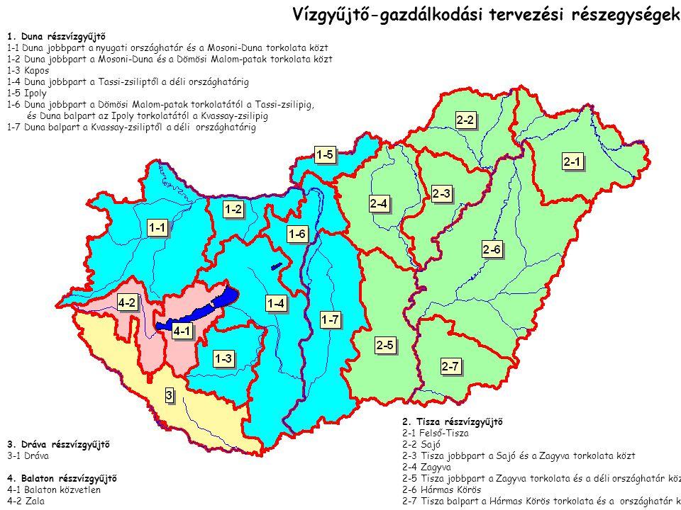 VÍZGYŰJTŐ-GAZDÁLKODÁSITERVEZÉS a Duna vízgyűjtőjének egészére Duna, Tisza, Dráva bontásban, Duna, Tisza, Dráva bontásban, A hangsúly a környezetvédelmen és fenntartható vízhasználatokon van, de közvetve befolyással van az egész vízgazdálkodásra is: feladatokat és követelményeket jelent de az aprómunka szintjét a típus szerint lehatárolható felszíni és felszín alatti víztestek Jelentik Hazánkban 17 tervezési egységre