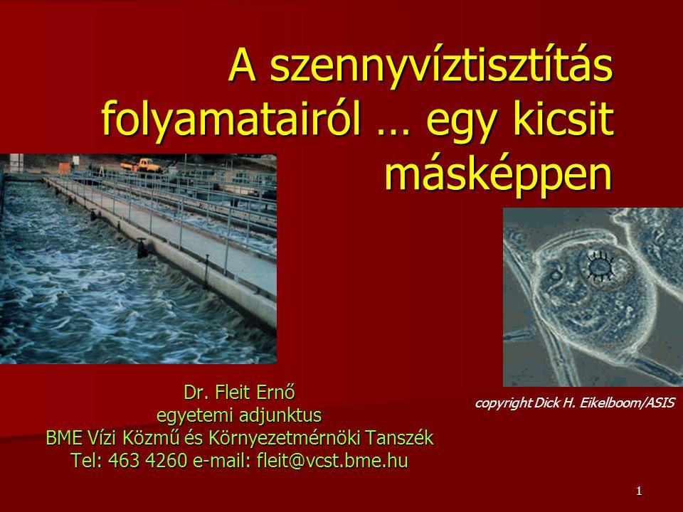 1 A szennyvíztisztítás folyamatairól … egy kicsit másképpen Dr. Fleit Ernő egyetemi adjunktus BME Vízi Közmű és Környezetmérnöki Tanszék Tel: 463 4260