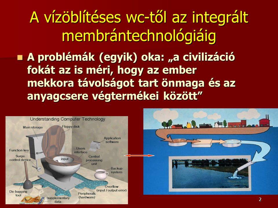 """2 A vízöblítéses wc-től az integrált membrántechnológiáig A problémák (egyik) oka: """"a civilizáció fokát az is méri, hogy az ember mekkora távolságot t"""