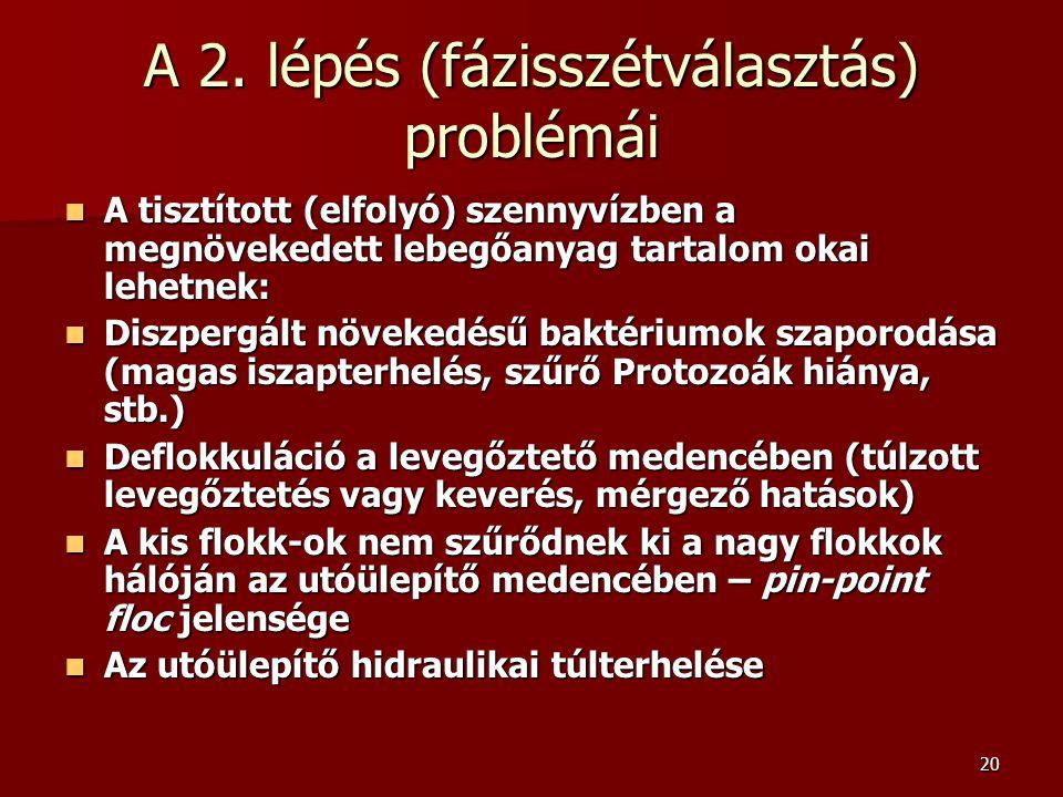 20 A 2. lépés (fázisszétválasztás) problémái A tisztított (elfolyó) szennyvízben a megnövekedett lebegőanyag tartalom okai lehetnek: A tisztított (elf