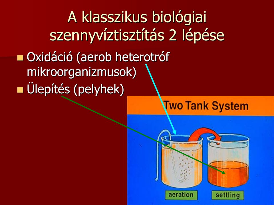 3 A klasszikus biológiai szennyvíztisztítás 2 lépése Oxidáció (aerob heterotróf mikroorganizmusok) Oxidáció (aerob heterotróf mikroorganizmusok) Ülepí