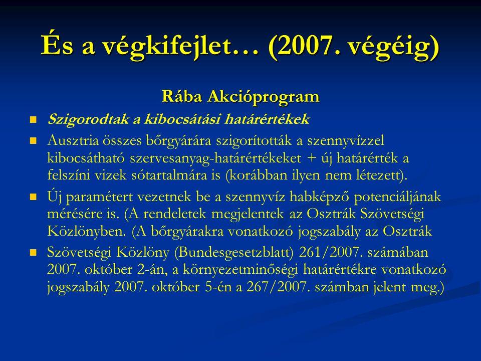 És a végkifejlet… (2007. végéig) Rába Akcióprogram Szigorodtak a kibocsátási határértékek Ausztria összes bőrgyárára szigorították a szennyvízzel kibo