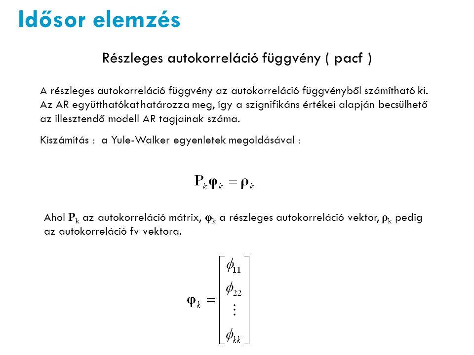 Idősor elemzés Részleges autokorreláció függvény ( pacf ) A részleges autokorreláció függvény az autokorreláció függvényből számítható ki.