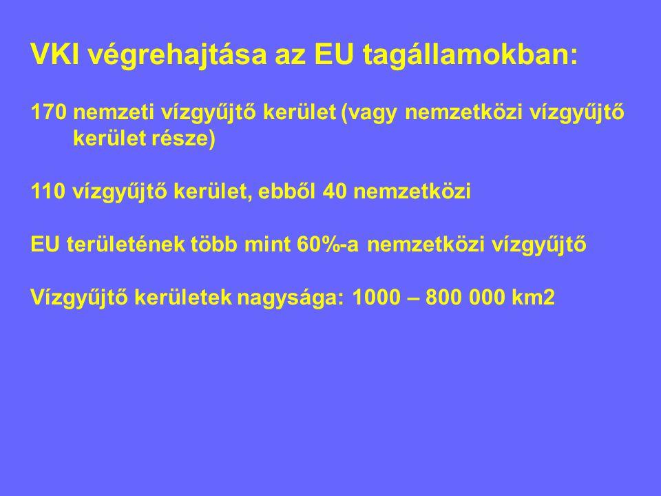 VKI végrehajtása az EU tagállamokban: 170 nemzeti vízgyűjtő kerület (vagy nemzetközi vízgyűjtő kerület része) 110 vízgyűjtő kerület, ebből 40 nemzetközi EU területének több mint 60%-a nemzetközi vízgyűjtő Vízgyűjtő kerületek nagysága: 1000 – 800 000 km2
