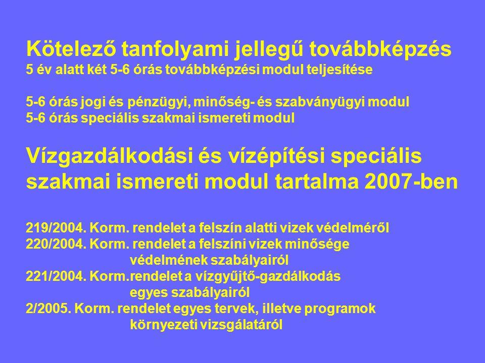 Kötelező tanfolyami jellegű továbbképzés 5 év alatt két 5-6 órás továbbképzési modul teljesítése 5-6 órás jogi és pénzügyi, minőség- és szabványügyi modul 5-6 órás speciális szakmai ismereti modul Vízgazdálkodási és vízépítési speciális szakmai ismereti modul tartalma 2007-ben 219/2004.