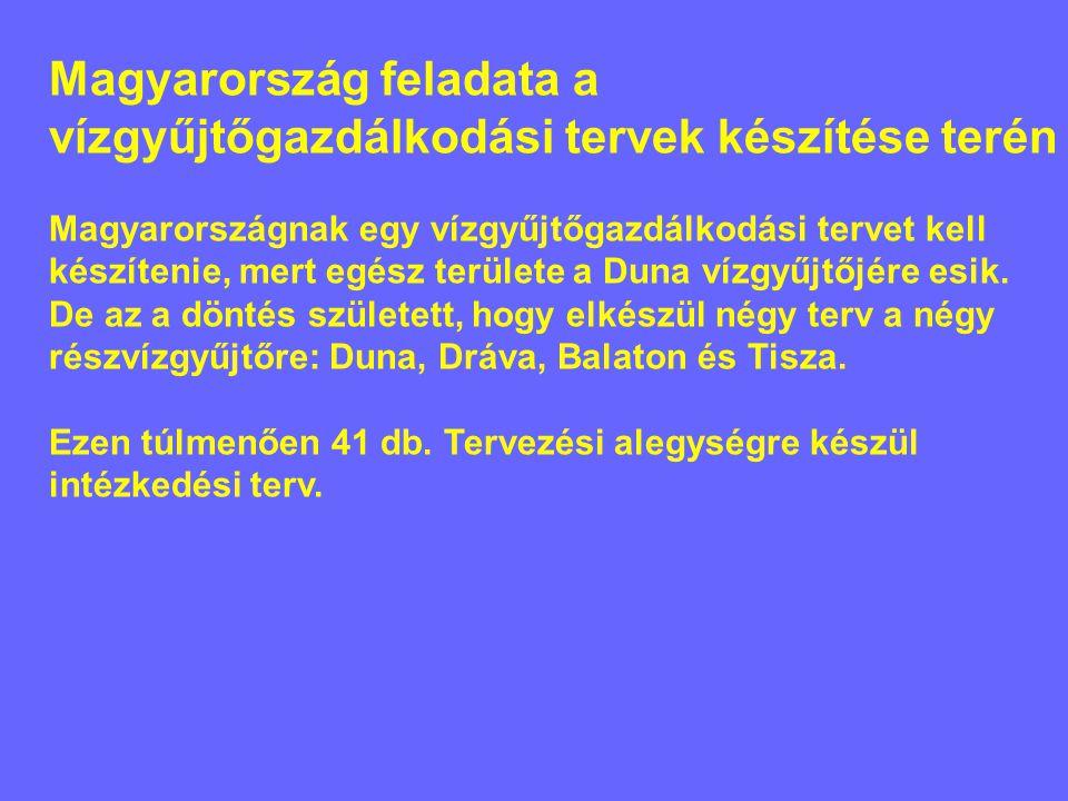 Magyarország feladata a vízgyűjtőgazdálkodási tervek készítése terén Magyarországnak egy vízgyűjtőgazdálkodási tervet kell készítenie, mert egész területe a Duna vízgyűjtőjére esik.