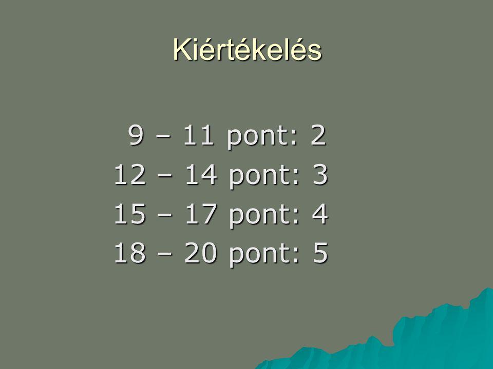 Kiértékelés 9 – 11 pont: 2 9 – 11 pont: 2 12 – 14 pont: 3 15 – 17 pont: 4 18 – 20 pont: 5