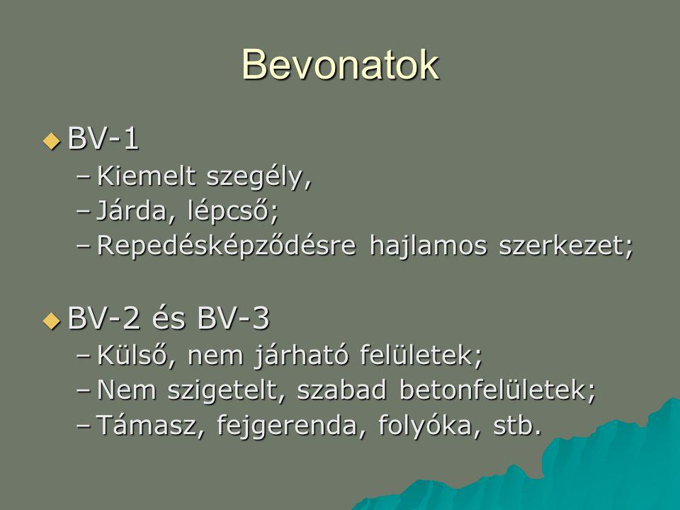 Bevonatok  BV-1 –Kiemelt szegély, –Járda, lépcső; –Repedésképződésre hajlamos szerkezet;  BV-2 és BV-3 –Külső, nem járható felületek; –Nem szigetelt