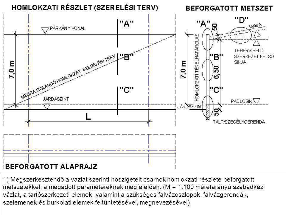 1) Megszerkesztendő a vázlat szerinti hőszigetelt csarnok homlokzati részlete beforgatott metszetekkel, a megadott paramétereknek megfelelően. (M = 1: