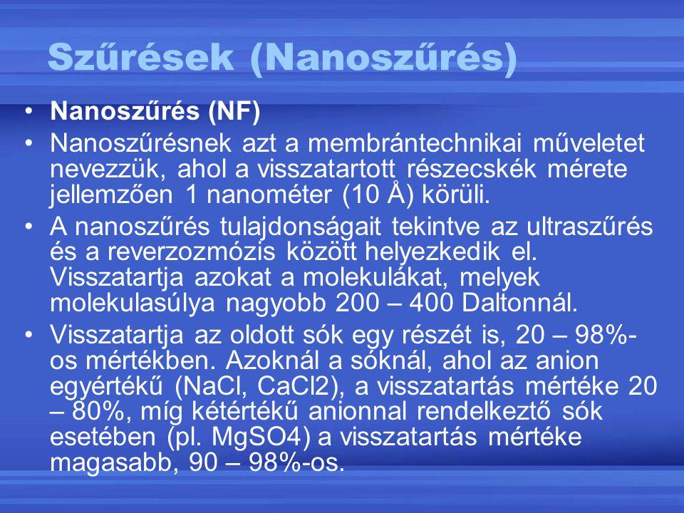 Nanoszűrés (NF) Nanoszűrésnek azt a membrántechnikai műveletet nevezzük, ahol a visszatartott részecskék mérete jellemzően 1 nanométer (10 Å) körüli.