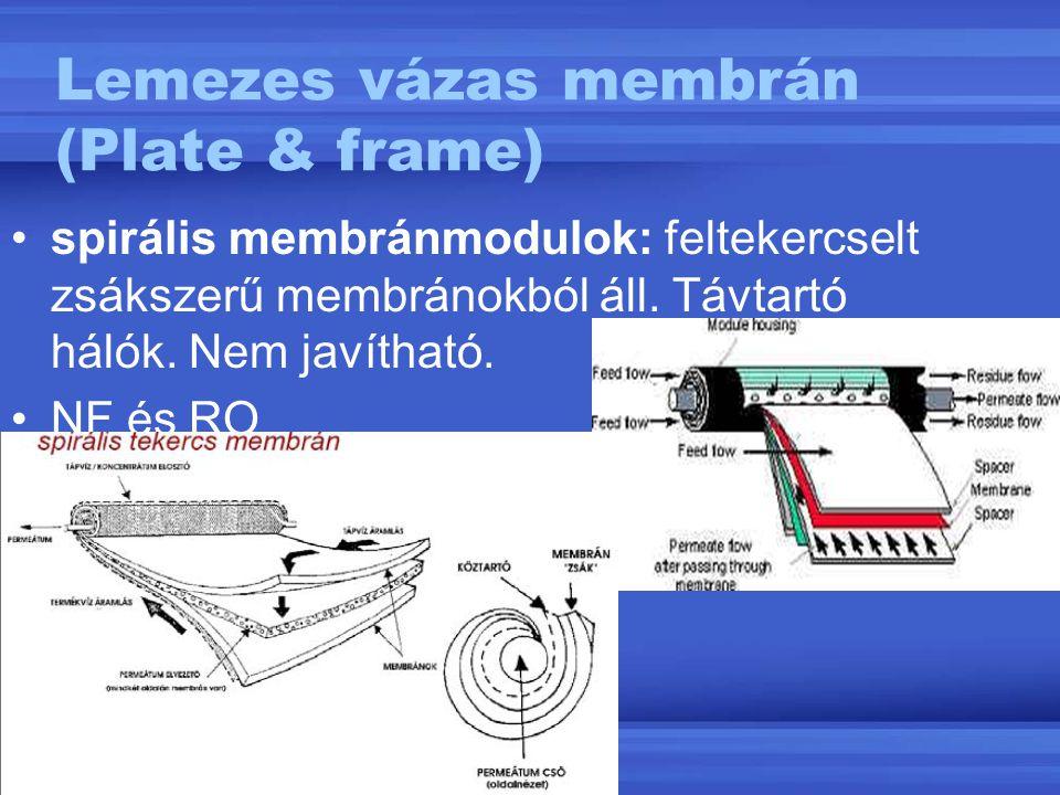 Lemezes vázas membrán (Plate & frame) spirális membránmodulok: feltekercselt zsákszerű membránokból áll. Távtartó hálók. Nem javítható. NF és RO