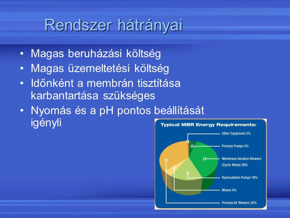Rendszer hátrányai Magas beruházási költség Magas üzemeltetési költség Időnként a membrán tisztítása karbantartása szükséges Nyomás és a pH pontos beá