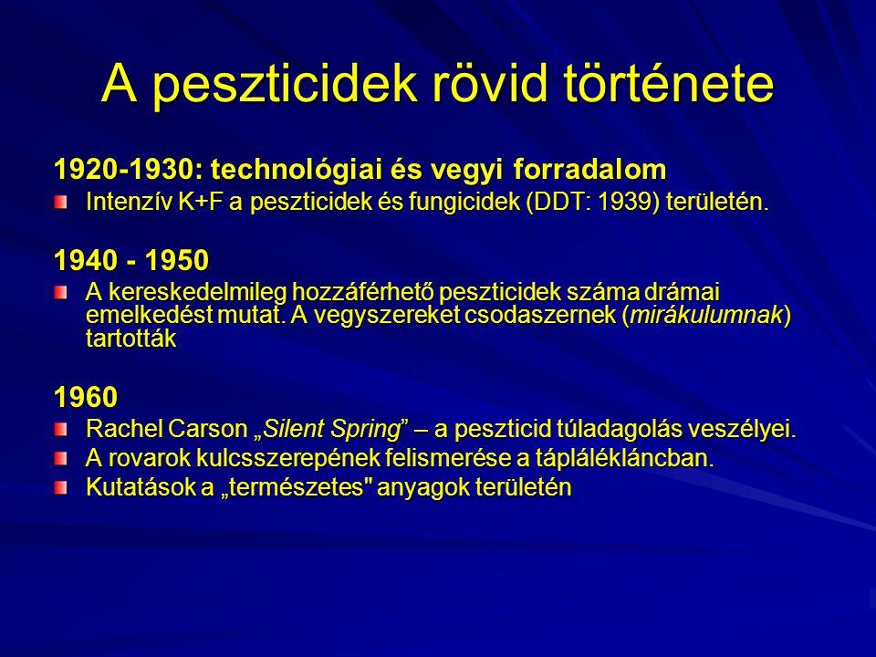 A peszticidek rövid története 1920-1930: technológiai és vegyi forradalom Intenzív K+F a peszticidek és fungicidek (DDT: 1939) területén. 1940 - 1950