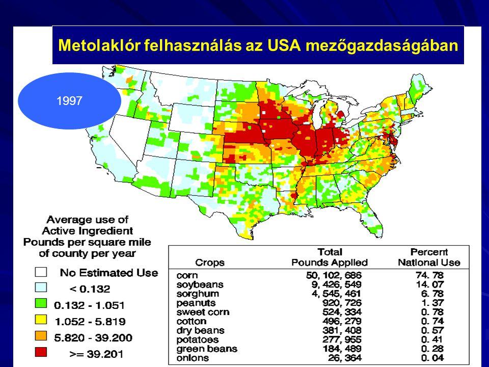 Metolaklór felhasználás az USA mezőgazdaságában 1997