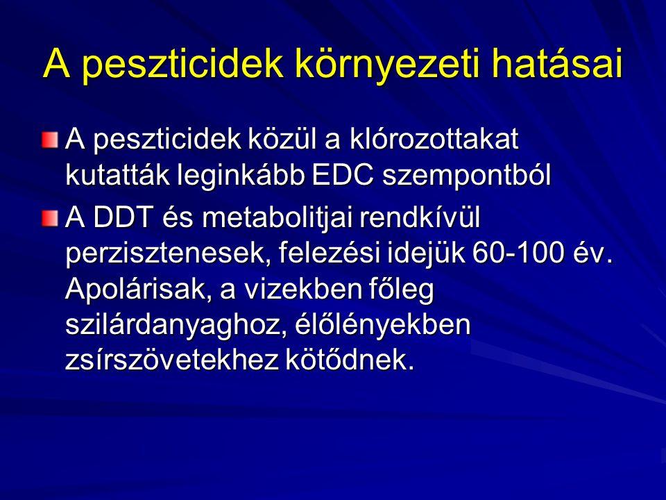 A peszticidek környezeti hatásai A peszticidek közül a klórozottakat kutatták leginkább EDC szempontból A DDT és metabolitjai rendkívül perzisztenesek