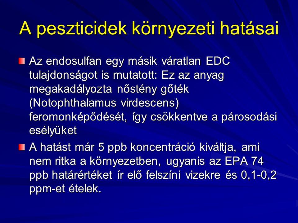 A peszticidek környezeti hatásai Az endosulfan egy másik váratlan EDC tulajdonságot is mutatott: Ez az anyag megakadályozta nőstény gőték (Notophthala
