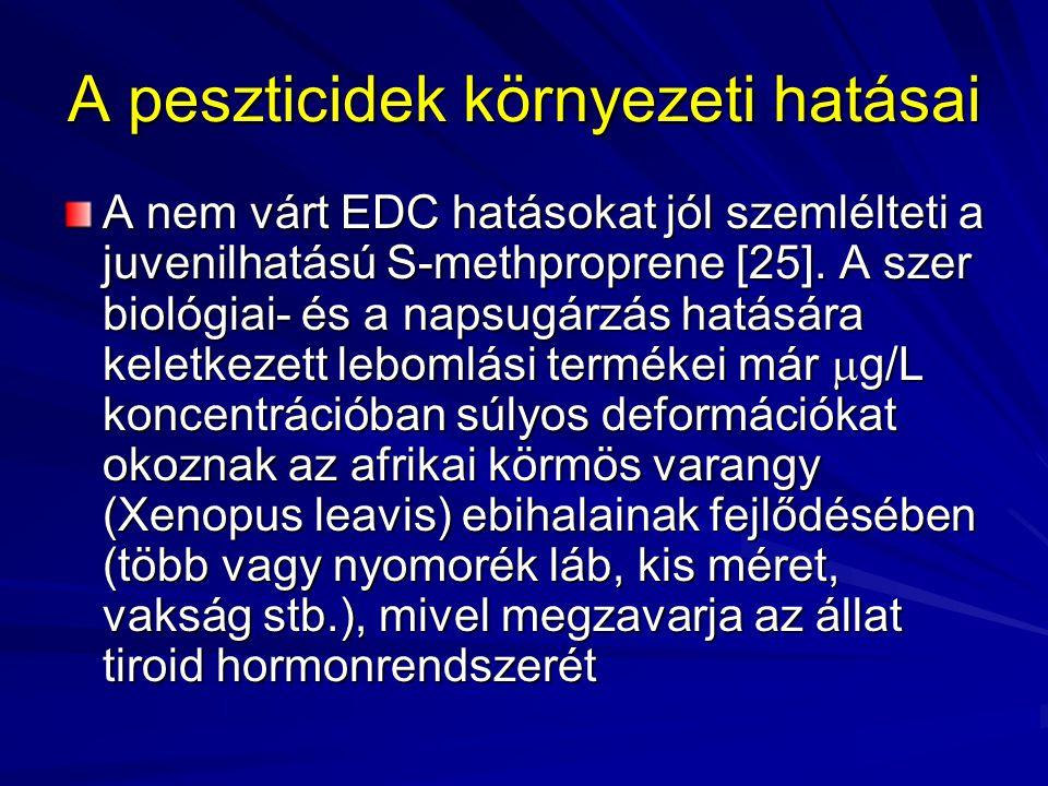 A peszticidek környezeti hatásai A nem várt EDC hatásokat jól szemlélteti a juvenilhatású S-methproprene [25]. A szer biológiai- és a napsugárzás hatá