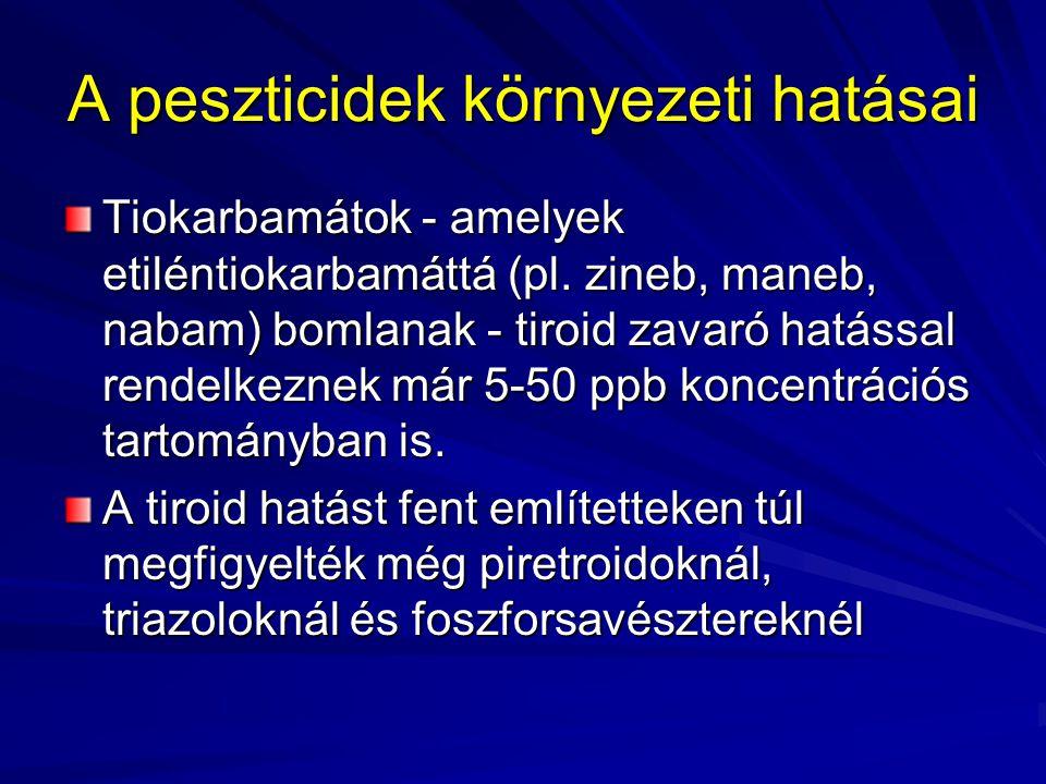 A peszticidek környezeti hatásai Tiokarbamátok - amelyek etiléntiokarbamáttá (pl. zineb, maneb, nabam) bomlanak - tiroid zavaró hatással rendelkeznek