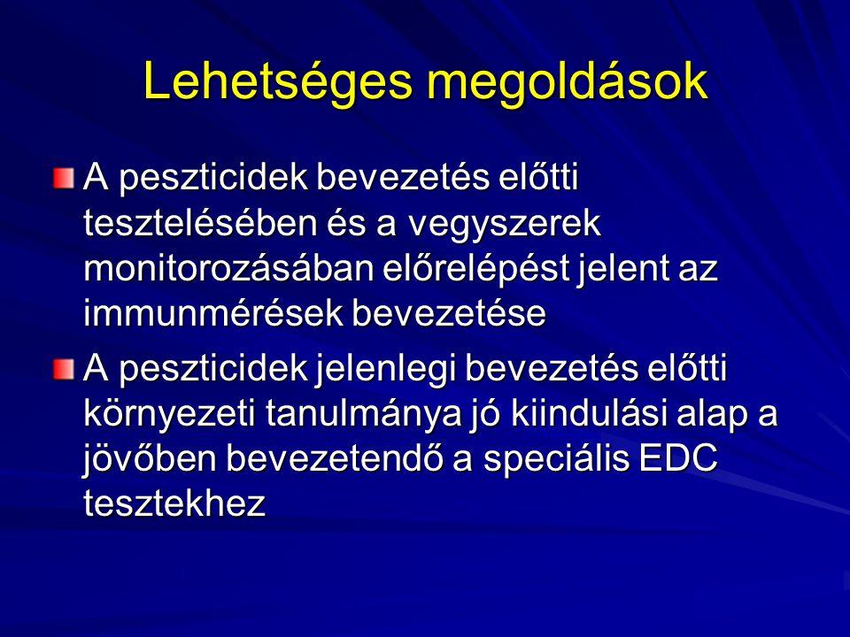 Lehetséges megoldások A peszticidek bevezetés előtti tesztelésében és a vegyszerek monitorozásában előrelépést jelent az immunmérések bevezetése A pes