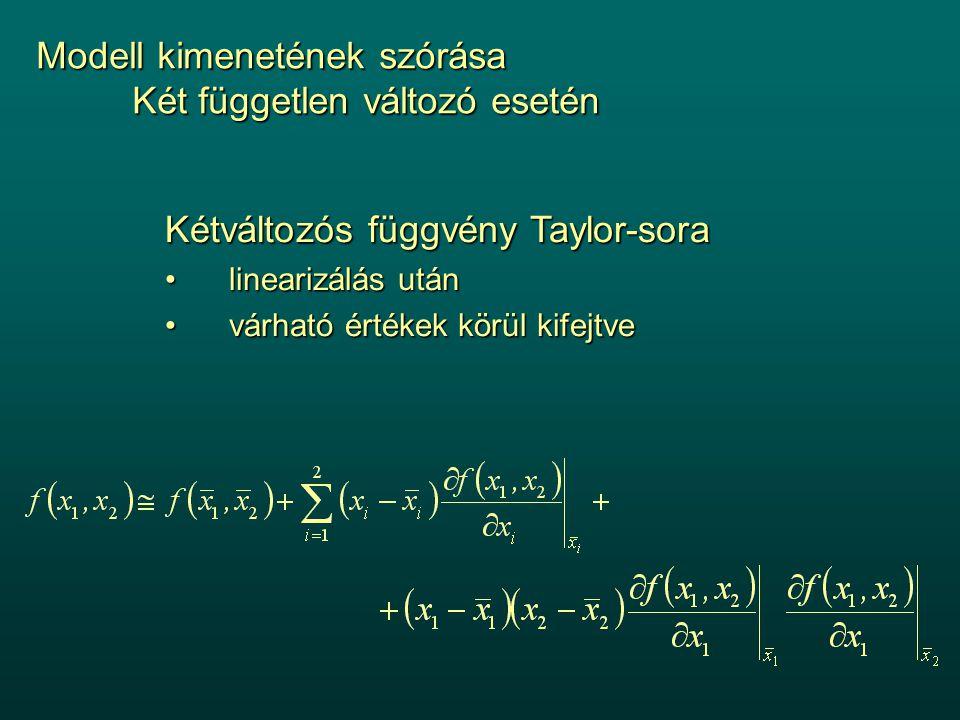 Modell kimenetének szórása Két független változó esetén Kétváltozós függvény Taylor-sora linearizálás utánlinearizálás után várható értékek körül kifejtvevárható értékek körül kifejtve
