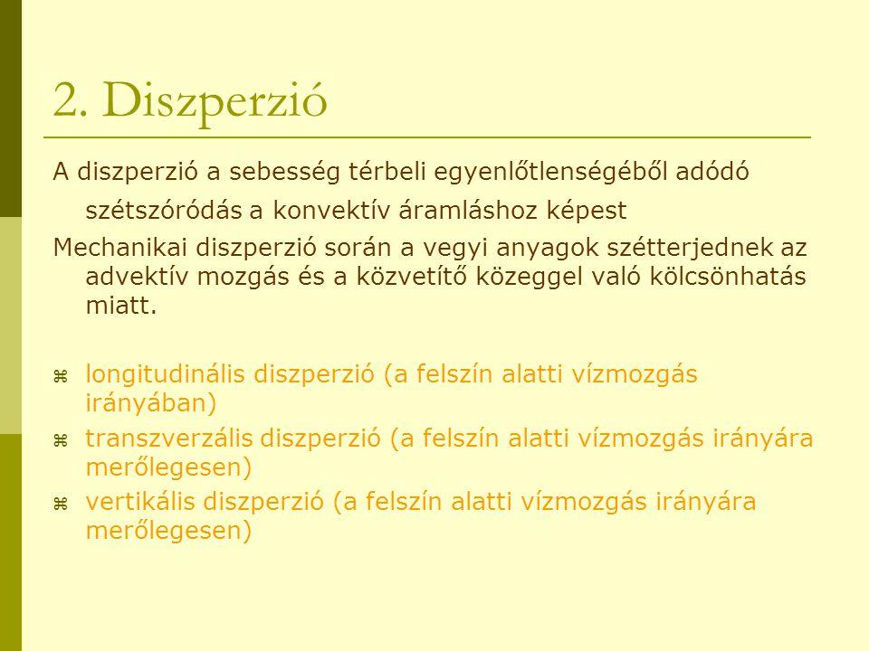 2. Diszperzió A diszperzió a sebesség térbeli egyenlőtlenségéből adódó szétszóródás a konvektív áramláshoz képest Mechanikai diszperzió során a vegyi