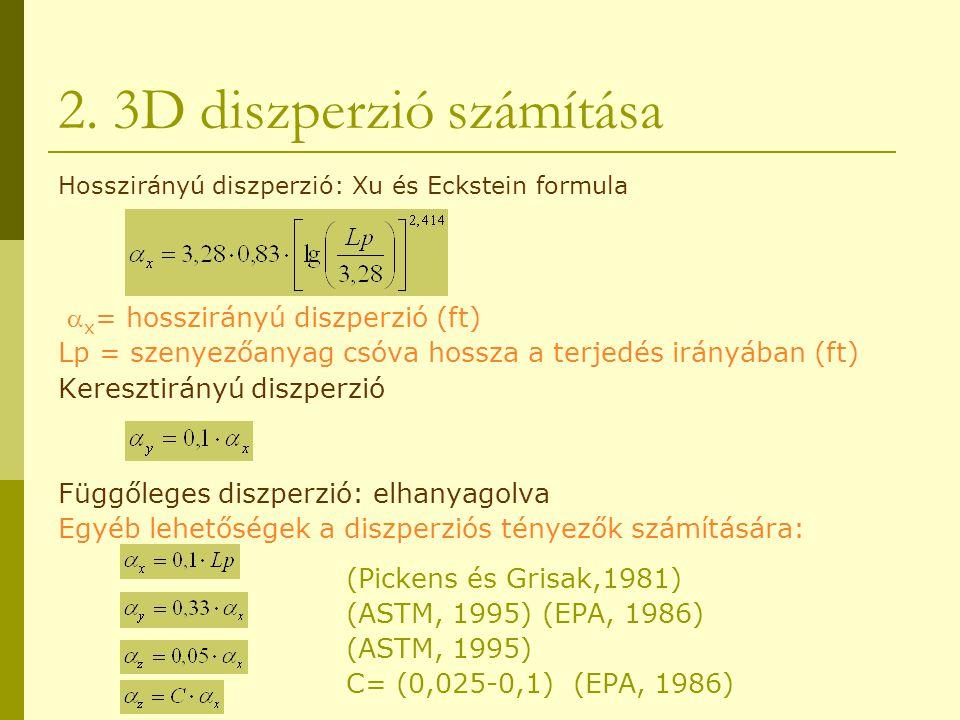2. 3D diszperzió számítása Hosszirányú diszperzió: Xu és Eckstein formula  x = hosszirányú diszperzió (ft) Lp = szenyezőanyag csóva hossza a terjedés
