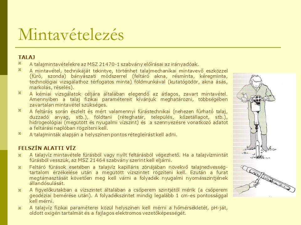 Mintavételezés TALAJ A talajmintavételekre az MSZ 21470-1 szabvány előírásai az irányadóak. A mintavétel, technikáját tekintve, történhet talajmecha