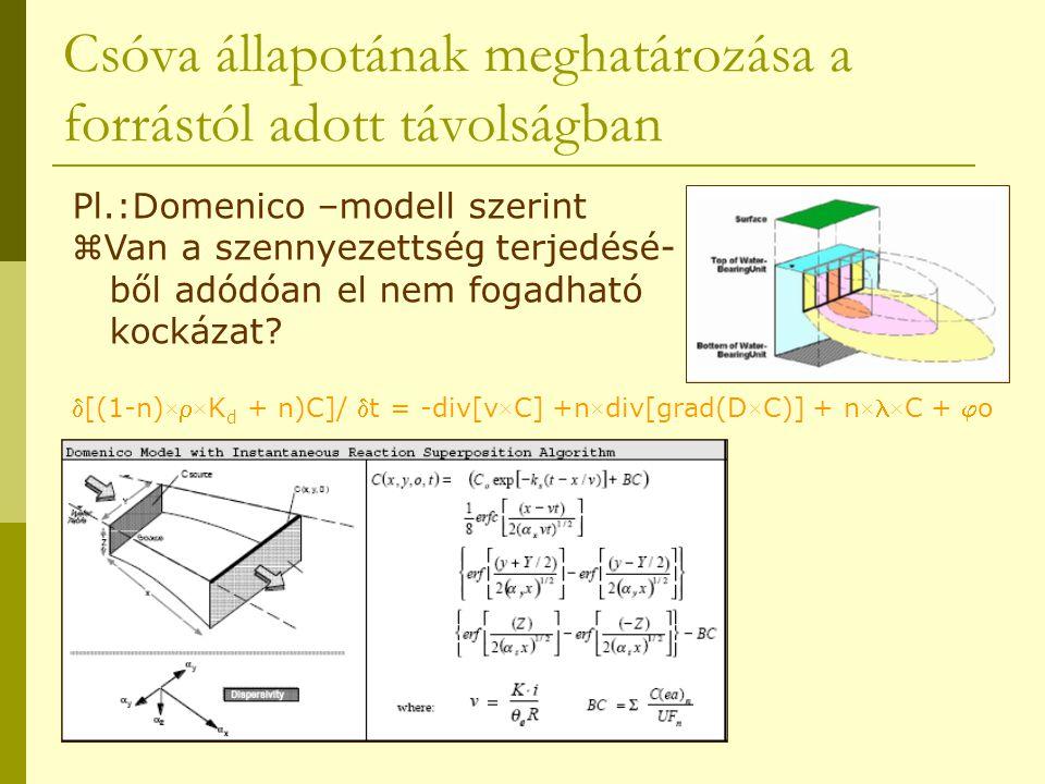 Csóva állapotának meghatározása a forrástól adott távolságban Pl.:Domenico –modell szerint  Van a szennyezettség terjedésé- ből adódóan el nem fogadh