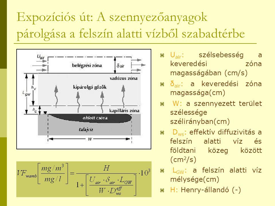 Expozíciós út: A szennyezőanyagok párolgása a felszín alatti vízből szabadtérbe  U air : szélsebesség a keveredési zóna magasságában (cm/s)  δ air :