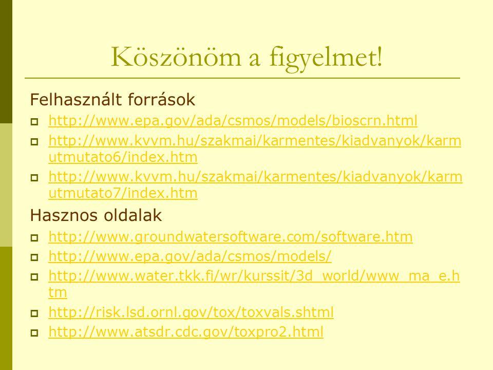 Köszönöm a figyelmet! Felhasznált források  http://www.epa.gov/ada/csmos/models/bioscrn.html http://www.epa.gov/ada/csmos/models/bioscrn.html  http: