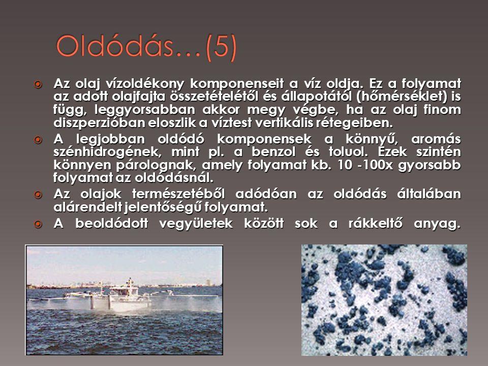  Az olaj vízoldékony komponenseit a víz oldja. Ez a folyamat az adott olajfajta összetételétől és állapotától (hőmérséklet) is függ, leggyorsabban ak
