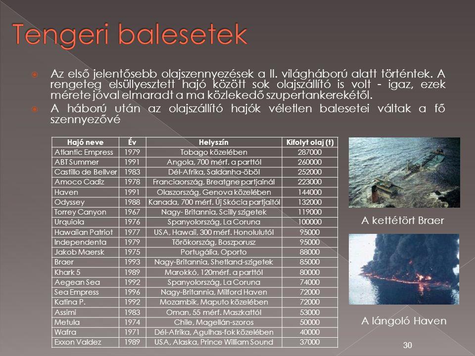  Az első jelentősebb olajszennyezések a II. világháború alatt történtek. A rengeteg elsüllyesztett hajó között sok olajszállító is volt - igaz, ezek