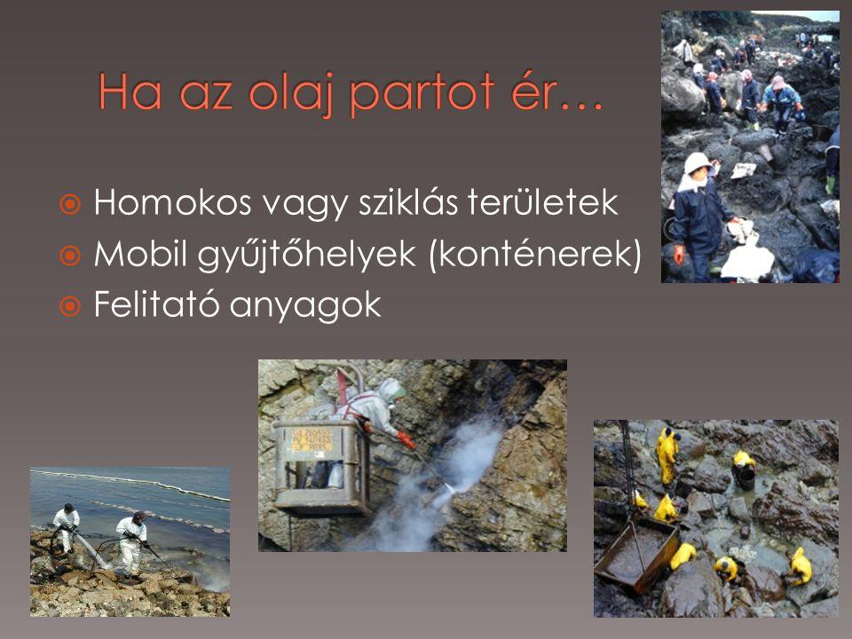  Homokos vagy sziklás területek  Mobil gyűjtőhelyek (konténerek)  Felitató anyagok