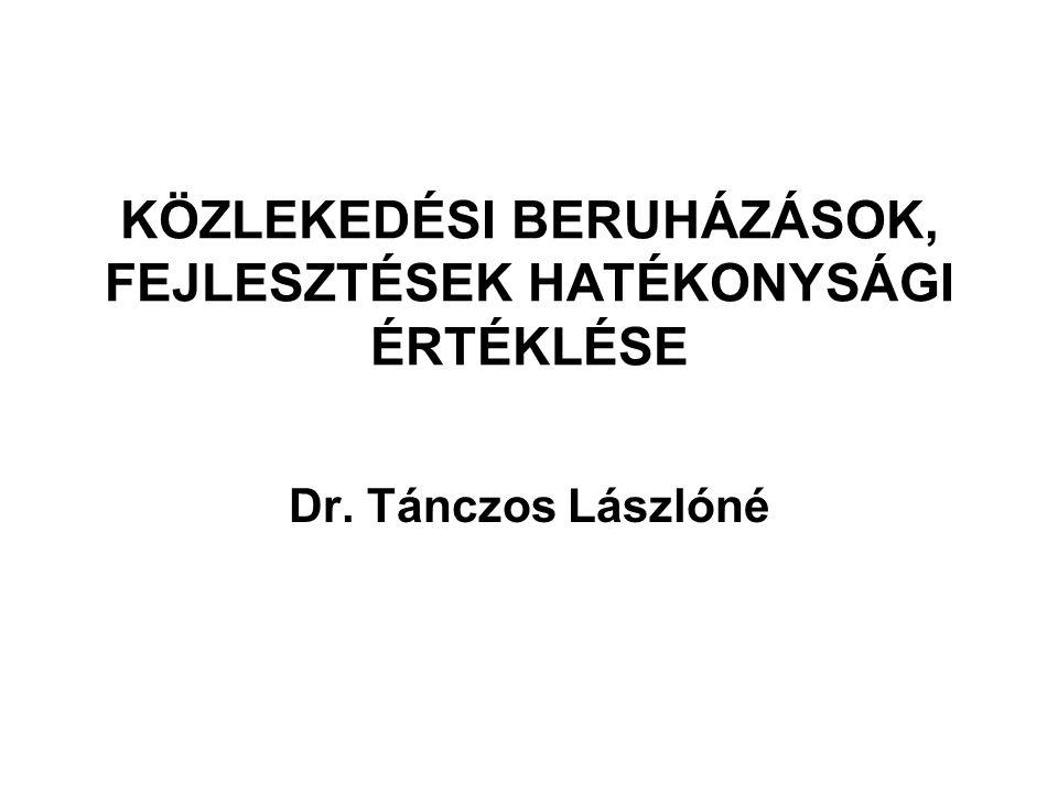 KÖZLEKEDÉSI BERUHÁZÁSOK, FEJLESZTÉSEK HATÉKONYSÁGI ÉRTÉKLÉSE Dr. Tánczos Lászlóné