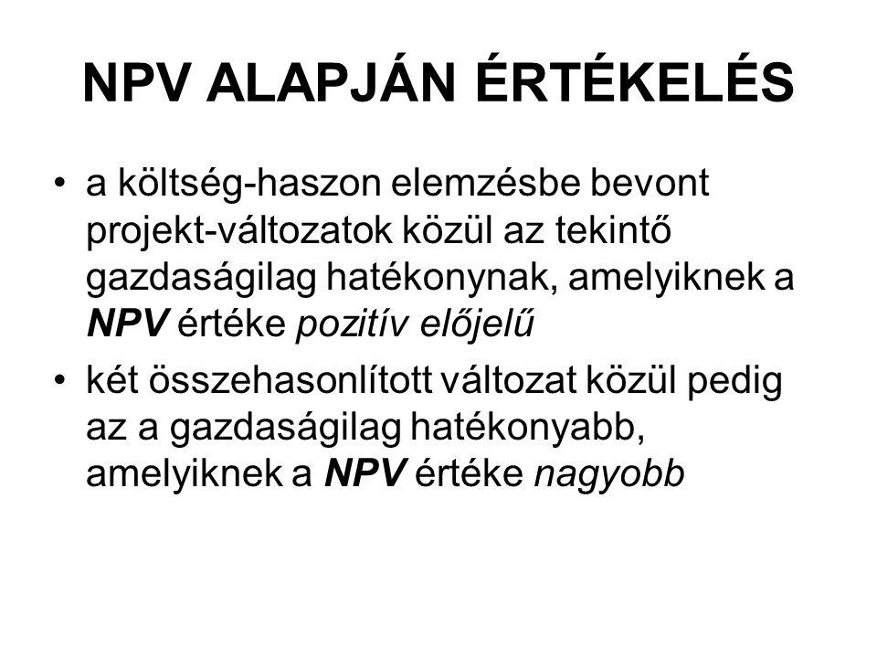 NPV ALAPJÁN ÉRTÉKELÉS a költség-haszon elemzésbe bevont projekt-változatok közül az tekintő gazdaságilag hatékonynak, amelyiknek a NPV értéke pozitív