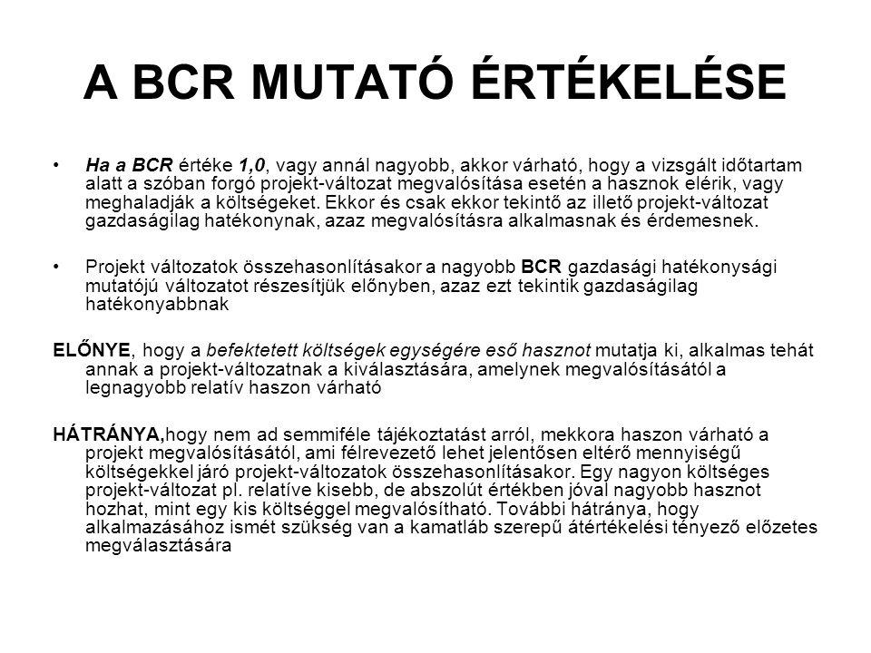 A BCR MUTATÓ ÉRTÉKELÉSE Ha a BCR értéke 1,0, vagy annál nagyobb, akkor várható, hogy a vizsgált időtartam alatt a szóban forgó projekt-változat megval